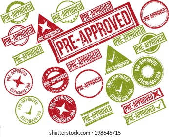 "Collection of 22 red and green grunge rubber stamps with text ""PRE-APPROVED"" . Vector illustration"