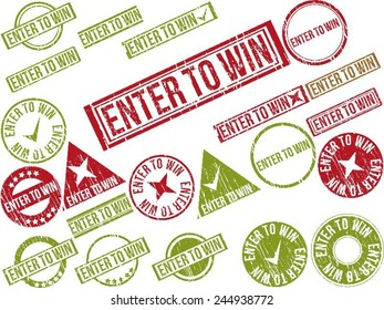 """Collection of 22 red and green grunge rubber stamps with text """"ENTER TO WIN"""" . Vector illustration"""
