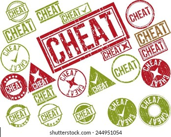 """Collection of 22 red and green grunge rubber stamps with text """"CHEAT"""" . Vector illustration"""