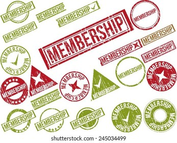 """Collection of 22 red and green grunge rubber stamps with text """"MEMBERSHIP"""" . Vector illustration"""