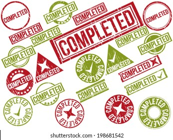 """Collection of 22 red grunge rubber stamps with text """"COMPLETED"""" . Vector illustration"""