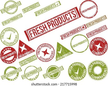 """Collection of 22 red grunge rubber stamps with text """"FRESH PRODUCTS"""" . Vector illustration"""