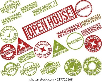 "Collection of 22 red grunge rubber stamps with text ""OPEN HOUSE"" . Vector illustration"