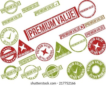 """Collection of 22 red grunge rubber stamps with text """"PREMIUM VALUE"""" . Vector illustration"""