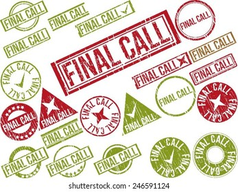 """Collection of 22 red grunge rubber stamps with text """"FINAL CALL"""" . Vector illustration"""