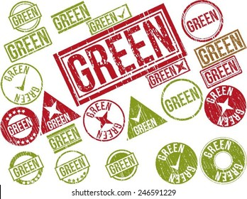 """Collection of 22 red grunge rubber stamps with text """"GREEN"""" . Vector illustration"""