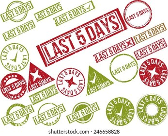 """Collection of 22 red grunge rubber stamps with text """"LAST 5 DAYS"""" . Vector illustration"""