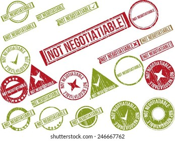 """Collection of 22 red grunge rubber stamps with text """"NOT NEGOTIATIABLE"""" . Vector illustration"""