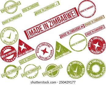 """Collection of 22 red grunge rubber stamps with text """"MADE IN ZIMBABWE"""" . Vector illustration"""
