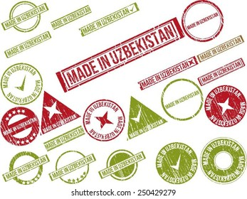 """Collection of 22 red grunge rubber stamps with text """"MADE IN UZBEKISTAN"""". Vector illustration"""
