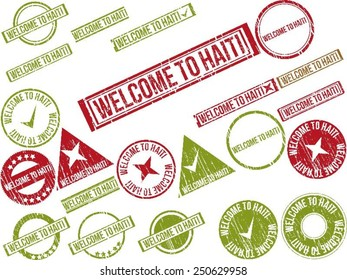 """Collection of 22 red grunge rubber stamps with text """"WELCOME TO HAITI"""". Vector illustration"""