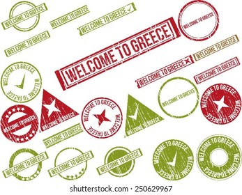 """Collection of 22 red grunge rubber stamps with text """"WELCOME TO GREECE"""". Vector illustration"""