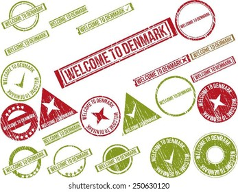 """Collection of 22 red grunge rubber stamps with text """"WELCOME TO DENMARK"""". Vector illustration"""