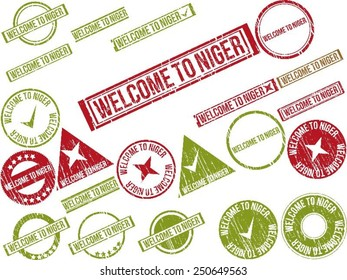 """Collection of 22 red grunge rubber stamps with text """"WELCOME TO NIGER"""". Vector illustration"""