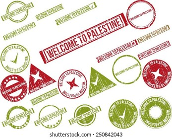 """Collection of 22 red grunge rubber stamps with text """"WELCOME TO PALESTINE"""" . Vector illustration"""
