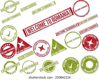 """Collection of 22 red grunge rubber stamps with text """"WELCOME TO ROMANIA"""" . Vector illustration"""