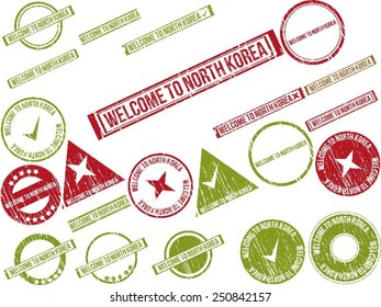 """Collection of 22 red grunge rubber stamps with text """"WELCOME TO NORTH KOREA"""" . Vector illustration"""