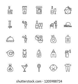 Collection of 25 bottle outline icons include icons such as waitress, rattle, dropper, medicine, champagne, garbage, baby cry, bottle, breast pump, baby clothes, margarita