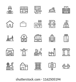 Collection of 25 building outline icons include icons such as building, industry, terrace, home, factory, farm, for rent, garage, hotel, house, lift, lighthouse, shop, agent