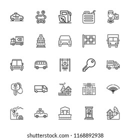 Collection of 25 car outline icons include icons such as gasoline, key, playground, car, truck, racing, house boat, locomotive, lorry, bus, phone box, fan, taxi, landslide