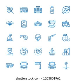 Collection of 25 car outline icons include icons such as school bus, hotel, gps, oil, death, key, fan, boat, environment, travel, collision, parking, metro, renewable energy