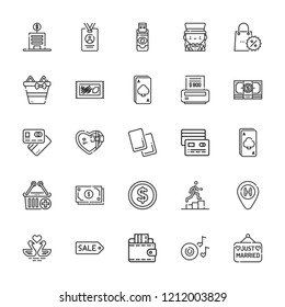 Collection of 25 card outline icons include icons such as coin, ace, lotto, hotel, credit card, wallet, tag, flash disk, referee, swans, romantic music, bill, money, cash