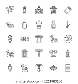 Collection of 25 clean outline icons include icons such as air cleaning, ecologist, water tap, bleach, detergent, housekeeping, laundry, trash, environment, face mask