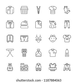 Collection of 25 clothes outline icons include icons such as clothes, clothespin, shirt, diving suit, football jersey, baby girl, jeans, dress, shorts, trousers, wardrobe