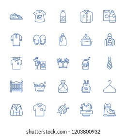 Collection of 25 clothing outline icons include icons such as clothes, bleach, bathrobe, laundry, slippers, gloves, skiing, sport shoe, baby bed, tie, tshirt, apron, shirt