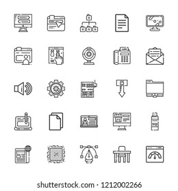 Collection of 25 computer outline icons include icons such as tv, browser, file, webcam, blog, sitemap, controller, fax, , ftp, sound, settings, table, download, email