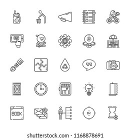 Collection of 25 concept outline icons include icons such as minibar, towel, tongs, puzzle, camera, megaphone, save water, recycling, clock, webcam, hourglass, email, browser