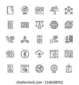 Collection of 25 connection outline icons include icons such as telephone, smartphone, settings, internet, webcam, bluetooth, laptop, bombs, cell phone, address book, browser