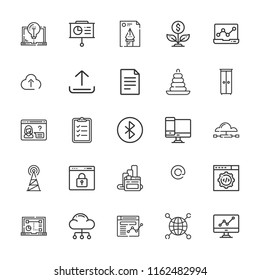 Collection of 25 data outline icons include icons such as browser, cabinet, cloud computing, analytics, presentation, bluetooth, file, antenna, upload, reporting, browsers