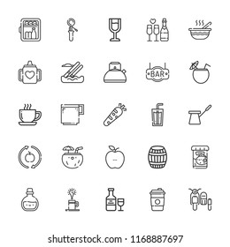 Collection of 25 drink outline icons include icons such as kettle, minibar, coffee cup, soda, healthy food, water skiing, sidecar, cocktail, baby food, baby mug, coffee pot