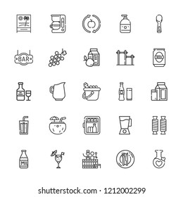Collection of 25 drink outline icons include icons such as ice bucket, liquid, jug, minibar, milk, dinner, soda, healthy food, cocktail, mixer blender, grape, barrel, beverage