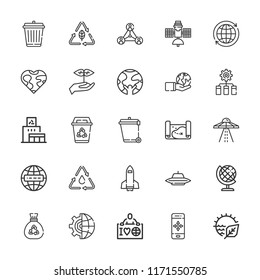Collection of 25 earth outline icons include icons such as ecologist, natural resources, recycling center, sprout, network, internet, earth globe, world, planet earth