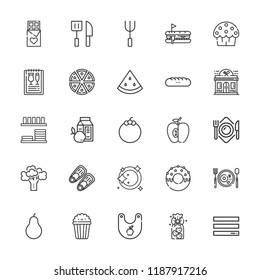 Collection of 25 eat outline icons include icons such as pizza, fins, watermelon, pear, fork, knife, mangosteen, chocolate, menu, plate, bib, popcorn, cup cake, restaurant