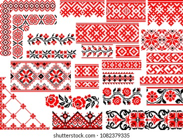 Collection of 25 editable colorful seamless ethnic patterns for embroidery stitch. Borders and frames.