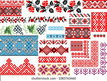 Collection of 25 editable colorful seamless ethnic patterns for embroidery stitch. Borders and frames