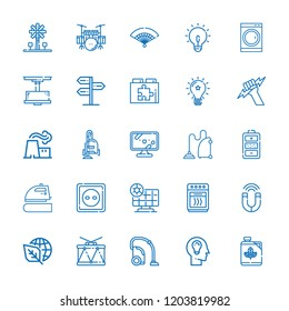 Collection of 25 electric outline icons include icons such as ecology, power plant, tv, oven, vacuum cleaner, panel, drum, biodiesel, idea, solar panel, socket, fan, drum set