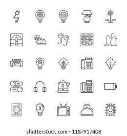Collection of 25 electrical outline icons include icons such as electricity, kettle, water boiler, fax, battery, light bulb, idea, innovation, voltmeter, headphones, switch