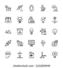 Collection of 25 energy outline icons include icons such as light bulb, information ecology, recycling center, burner, idea, plug, garbage, biodiesel, hoverboard, waste