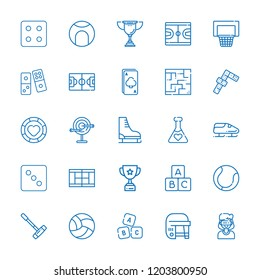 Collection of 25 game outline icons include icons such as ace, casino chip, dominoes, blocks, trophy, bobsleigh, hockey, ice skate, polo, tennis court, tennis, volleyball, abc