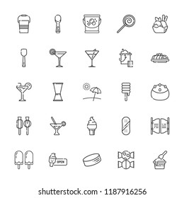Collection of 25 ice outline icons include icons such as martini, cocktail, lollipop, puck, snowboard, ice cream, bar, jigger, scoop, cake, sweet, bucket