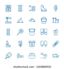 Collection of 25 ice outline icons include icons such as bucket, soft drink, bobsleigh, ice skate, snowboard, mountain, popsicle, vodka, lollipop, cake, pamela, candy, bar