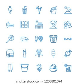 Collection of 25 ice outline icons include icons such as bucket, candy, soda, bobsleigh, hockey, cocktail, ice cream, vodka, popsicle, bar, whipped cream, lollipop, snowing