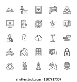 Collection of 25 information outline icons include icons such as tablet, manager, ironing service, cloud computing, padlock, computer, command, antenna, book, internet, books