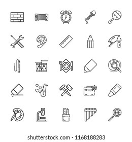 Collection of 25 instrument outline icons include icons such as repair tools, toolbox, alarm clock, eraser, magnifier, brick, microscope, maraca, pencil, ruler, crayon, drum