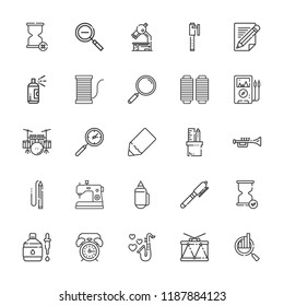 Collection of 25 instrument outline icons include icons such as voltmeter, dropper, drum, trumpet, loupe, search, pencil, pen, hourglass, pencil case, drum set, zoom out