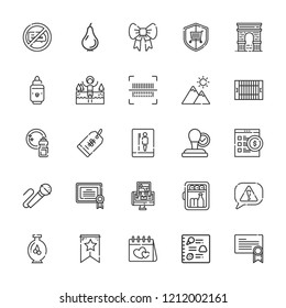 Collection of 25 label outline icons include icons such as stamp, bar code, minibar, karaoke, field, no chatting, certificate, lake, toilet, price tag, risk, gps, mountain